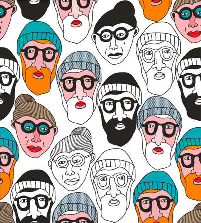 Seamless pattern with old people faces.