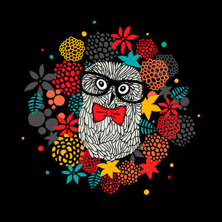 Creative portrait of hipster owl in glasses. Vector illustration with floral elements.