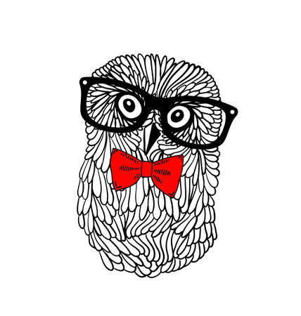 Cute owl pet in retro frame glasses isolated on white background. Vector illustration of bird in hipster style.