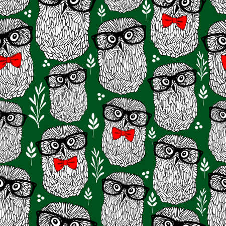 Summer time seamless pattern with forest owls in retro glasses.