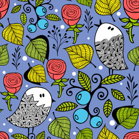 Endless creative background with doodle birds with leaves and berries.