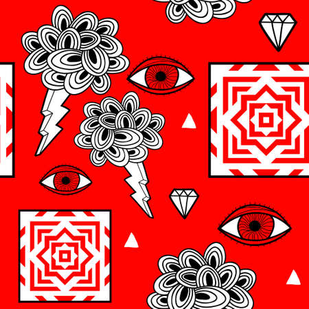 Hand drawn seamless pattern with artistic design elements and doodle eyes. Stock Illustratie