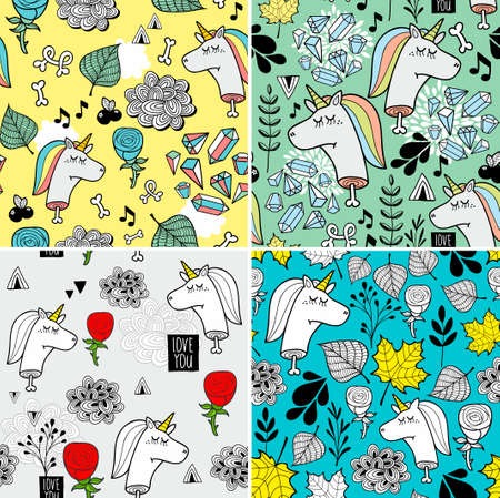 Set of seamless patterns with dead unicorns. Vector colorful wallpaper. Stock Illustratie