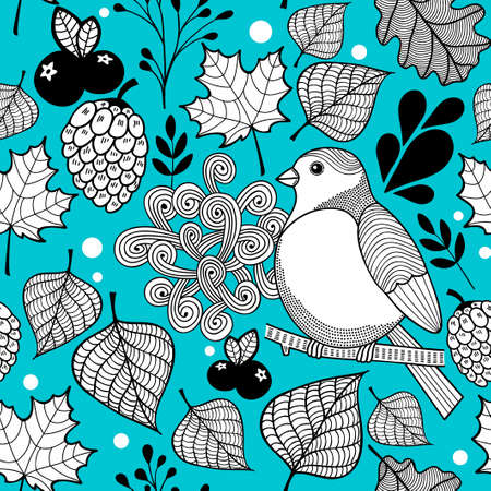 Seamless doodle pattern with autumn nature and birds. Vector wallpaper.
