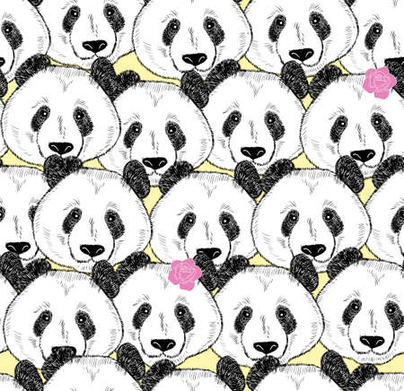 A lot of pandas seamless pattern. Vector wallpaper with chinese symbol animal. Illustration