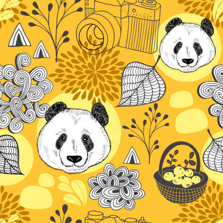 Autumn in China seamless pattern.