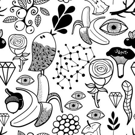 Doodle seamless illustration for coloring book. Anti stress black and white picture.