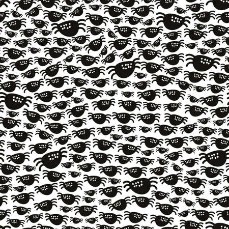 Seamless pattern with black spiders.