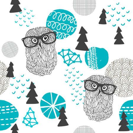 Polar owl seamless pattern.