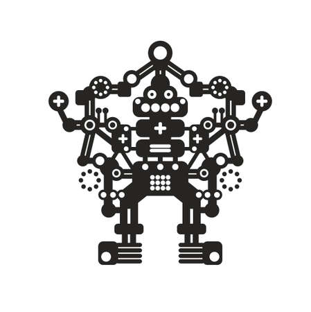 Creative robot print for t-shirt, stickers or wall art. Stock Photo