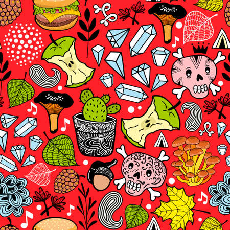 Seamless pattern with cute nature elements. Stockfoto
