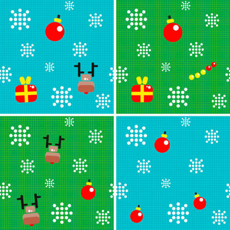 Set of seamless backgrounds with christmas decorations. Stock Photo