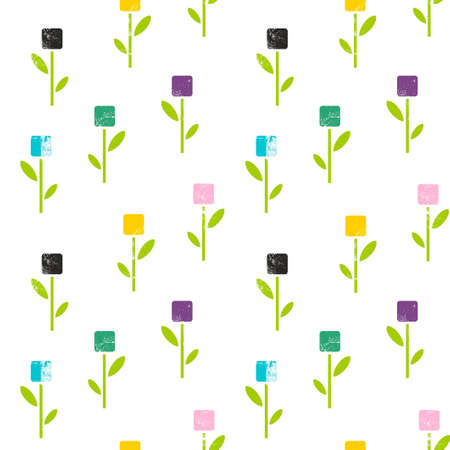 Seamless pattern of flowers in abstract style. Stock Photo