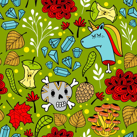 Colorful illustration seamless pattern with sugar skulls.
