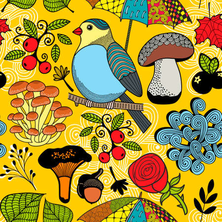 Colorful seamless pattern with forest wild bird on the tree.