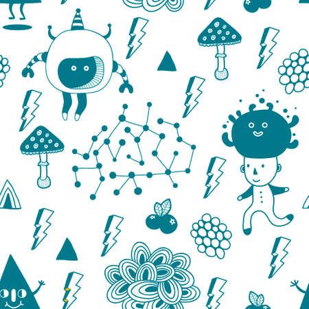 Strange seamless illustration with fantastic creatures and funny monsters. Vector endless background. Blue and white repeating pattern. Illustration
