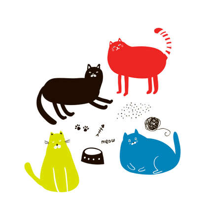 Set of cute colorful cats in doodle style. Vector illustration. Illustration