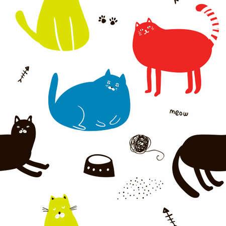 Buntes nahtloses Muster mit Katzen.