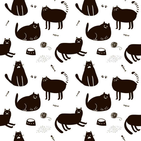 Black and white seamless pattern with cute cats. Endless illustration in vector.