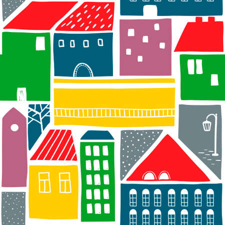 Endless colorful background with old houses in the town. Vector wallpaper.