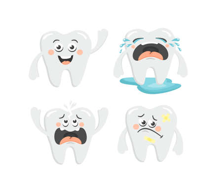 Cute collection of cartoon tooth chatacters for children poster. Dental vector illustration.