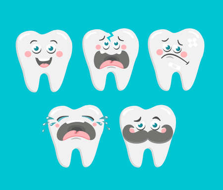 Funny collection of cartoon teeth. Vector set for dentist.