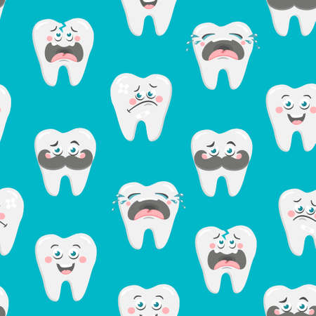 Endless wallpaper with emotional teeth. Vector seamless pattern for dentist.