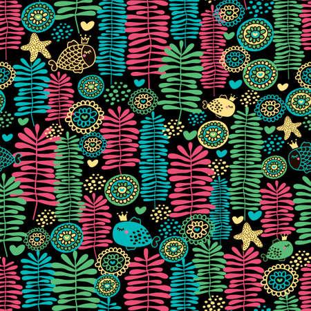 Naadloze patroon van zeeleven. Vectorillustratie met vis en water gras. Vector Illustratie