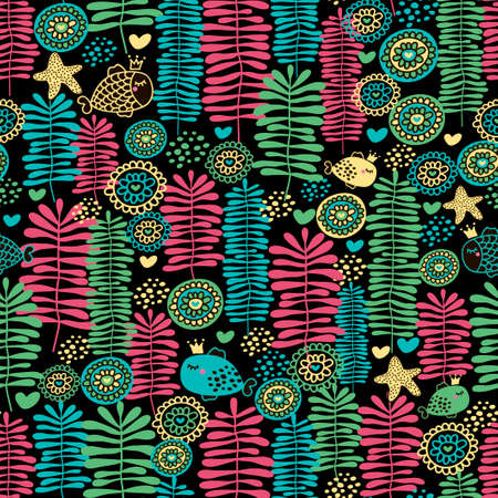 Seamless pattern of sea life. Vector illustration with fish and water grass.