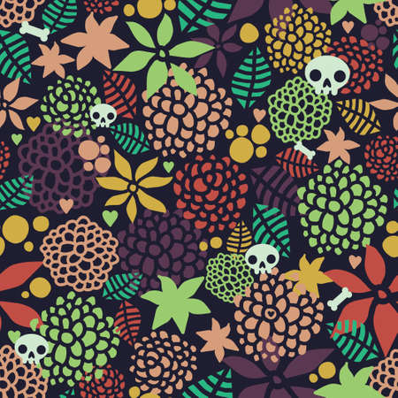 Seamless background with cute skulls and floral elements. Cute endless pattern in vector. Stock Illustratie