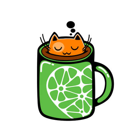 Red cat in the cup of coffee. Vector illustration. Çizim