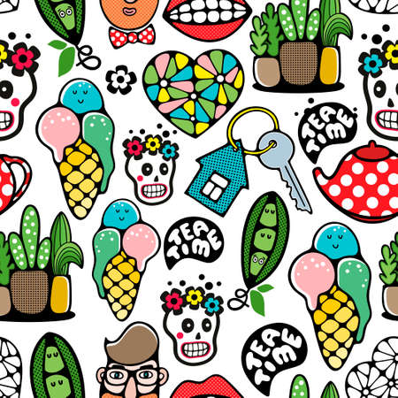 Colorful seamless background with hipster and funny skulls. Vector endless wallpaper.