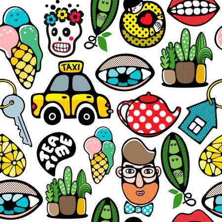 Endless pattern with different things and objects. Vector illustration in doodle stile. seamless wallpaper.