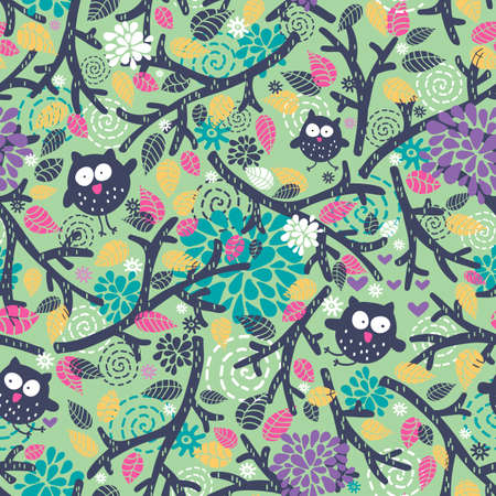 Creative children pattern with funny owls and floral elements. Vector seamless background.