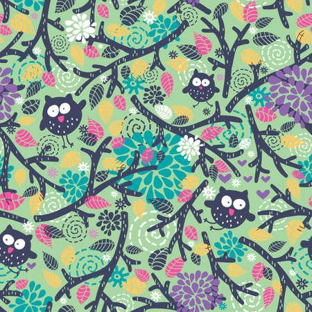 Patrón de niños creativos con búhos divertidos y elementos florales. Fondo transparente de vector. Ilustración de vector