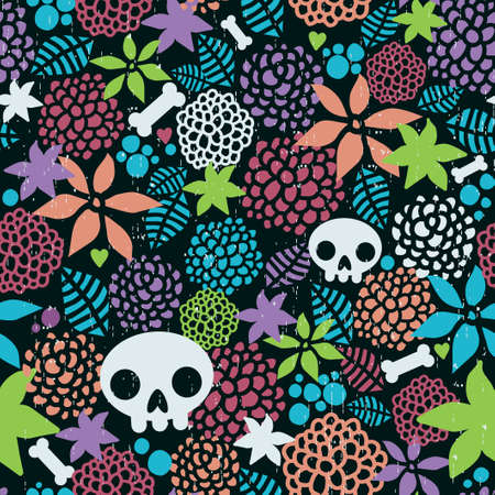 Skulls and flowers seamless pattern. Vector art.