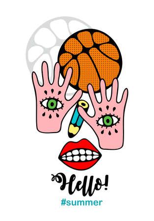 Abstract illustration of basketball player. Vecor art.