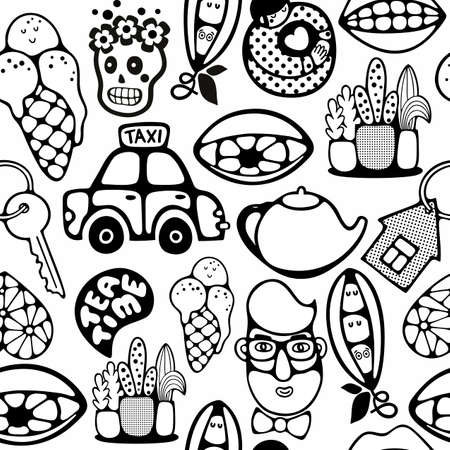 Endless pattern with cartoon characters.Vector illustration in black and white colors for coloring book. Illustration