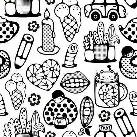 Endless pattern with cartoon characters. Vector illustration in black and white colors for coloring book.