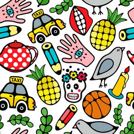 Creative vector pattern with sugar skull, basketball ball and pigeons. Endless wallpaper of hand drawn cartoon characters. Illustration
