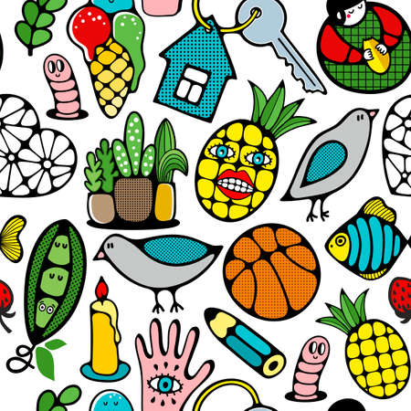 Colorful seamless pattern with funny monster pineapple, animals and plants. Vector illustration.