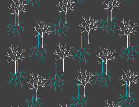 Seamless pattern with winter forest. Vector art.