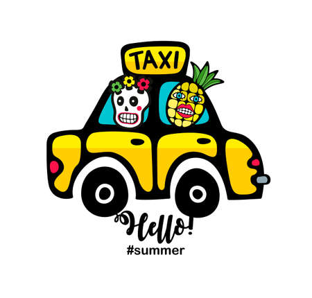 Creative summer print with yellow taxi car and monsters.