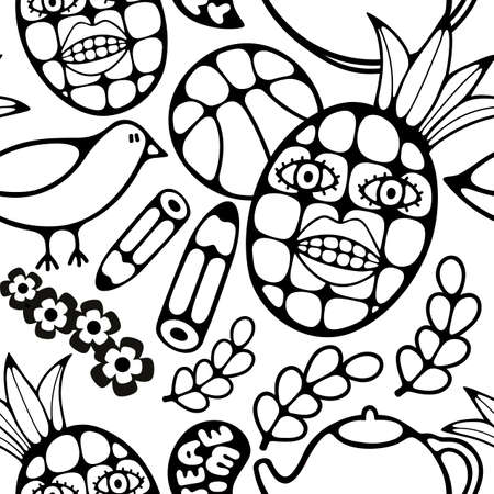 Black and white seamless illustration for coloring book. Foto de archivo - 109550482