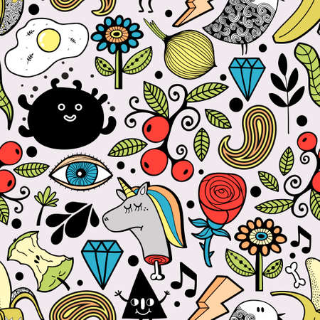 Creative endless background with funny characters. Vector art.