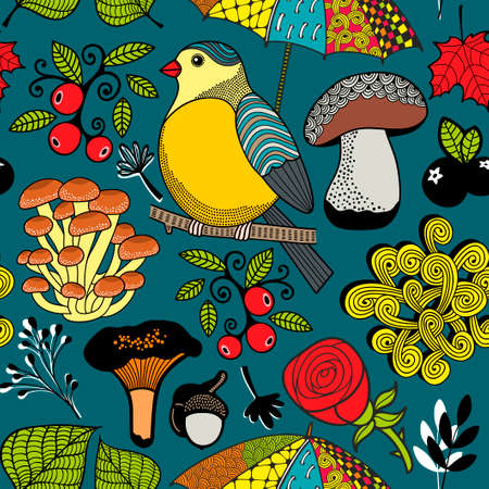 Seamless pattern with autumn forest and bird.