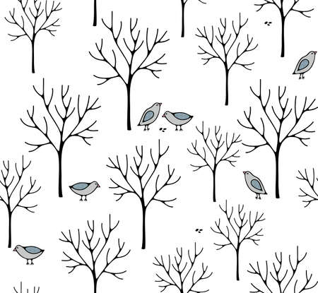 Creative nordic style illustration with winter forest. Banque d'images - 110795500