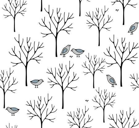 Illustration créative de style nordique avec forêt d'hiver.