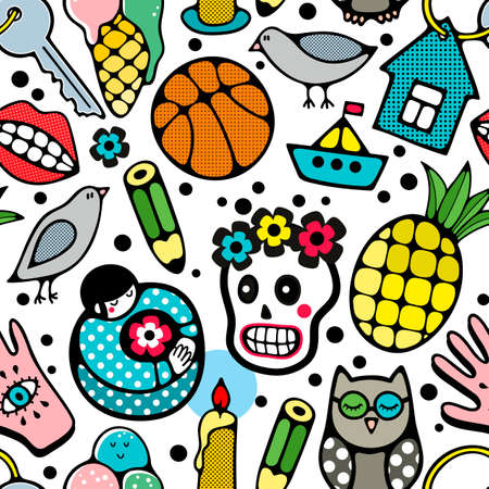 Seamless pattern with doodle characters and objects.