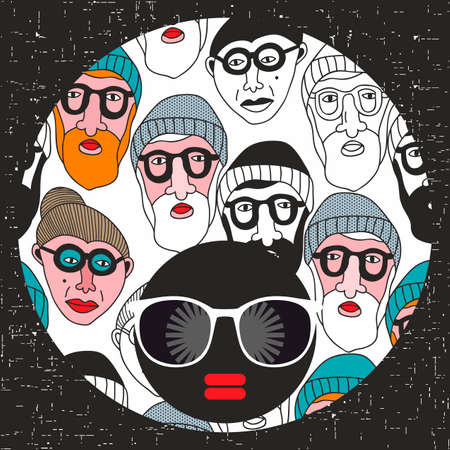 Young girl with dark skin and creative turban on her head. Vector illustration with female portrait. Black woman in retro glasses and hipster hair. Stock Vector - 127585666